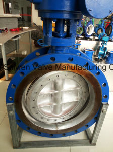 Dn800 Ss304 Disc Double Flange Butterfly Valve with Gear Box pictures & photos