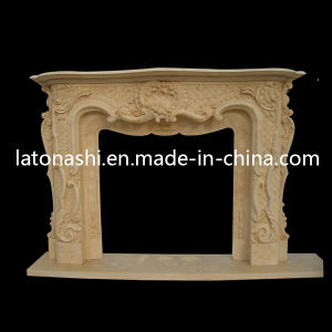 Beige Marble Stone Carved Fireplace Surround Mantel for Indoor pictures & photos