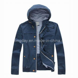 Navy 100% Cotton Men′s Casual Jacket with Cap (U44101) pictures & photos