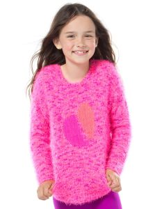 Girls Feather Yarn Intarsia Sweater pictures & photos