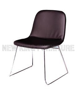 Modern Cheap Fashion Chrome Steel Foot PU Leather Dining Chair (NK-DC059)