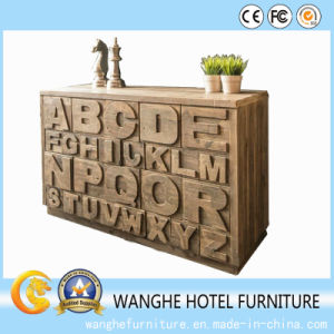 Hotel Furniture Alphabet Design Natural Wood Color Side Table pictures & photos
