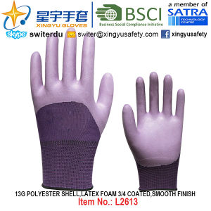 13G Polyester Shell Foam Latex 3/4 Coated, Smooth Finish Gloves (L2613) with CE, En388, En420, Work Gloves pictures & photos