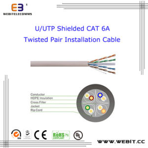U/UTP Unshielded Cat 6A Twisted Pair Installation Cable, CAT6A U/UTP Data Cable / LAN Cable / Network Cable pictures & photos