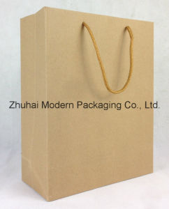 Brown Paper Bag with Handle \Kraft Paper Bag pictures & photos