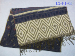 100%Acrylic Jacuard Fringes Woven Scarf with Lurex