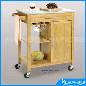 Osaka Bamboo Wood Rolling Utility Kitchen Trolley with Marble Top pictures & photos