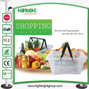 Clear Plastic Supermarket Double Handle Shopping Basket pictures & photos