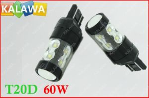 1 Pair 60W T20 7443 6000k Fog Light Osram Chip Black Metal Type High Power LED Lamp Car Headlamp DC12-24V ^Jmq