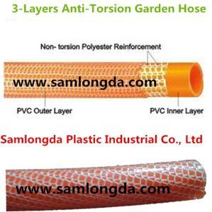 PVC Non-Torsion Fiber Reinforced Hose /3 Layer Garden Hose / PVC Hose pictures & photos