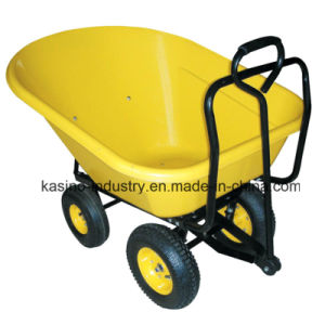 200kgs Four Wheels Wheel Barrow Wb1007p with 130L Plastic Tray pictures & photos