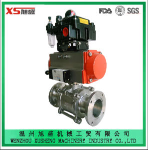 Stainless Steel Sanitary Hygienic Pneumatic Three Pieces Clamp Ball Valve pictures & photos
