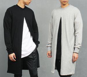 Men′s Street Edge Design Open Front Vent Long T Shirt