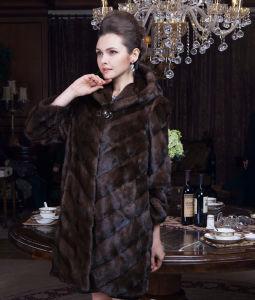 2015 Europe Style Winter Women Real Mink Fur Coat