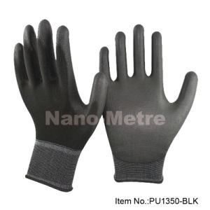 Nmsafety Black Nylon Shell PU Coated Safety Work Glove pictures & photos