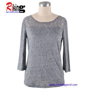 Fashion Ladies Middle Sleeve T Shirt (RKT1304)