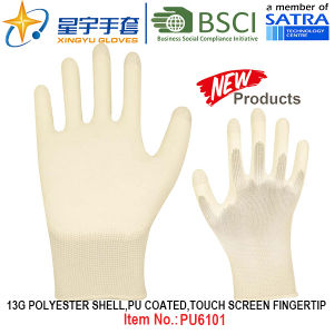 13G Polyester Shell PU Coated Gloves (PU6101) Touch Screen Fingertip with CE, En388, En420 Work Gloves pictures & photos