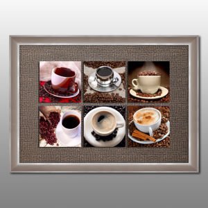 6 Panels Coffee Cup Multi Wall Art Floating Glass Framed Painting