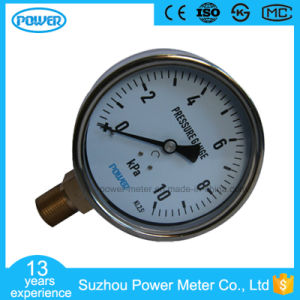 100mm Stainless Steel Case Bottom Brass Connection 10kpa Bellows Pressure Gauge pictures & photos