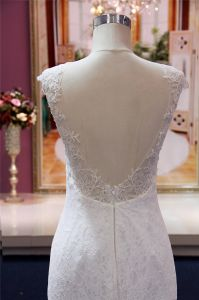 Front Slit Lace Mermaid Party Evening Bridal Wedding Gown pictures & photos