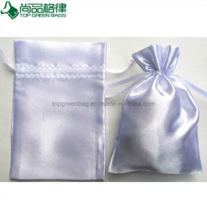 Wholesale Custom Made Drawstring Satin Bag Pouch with Logo Printed pictures & photos