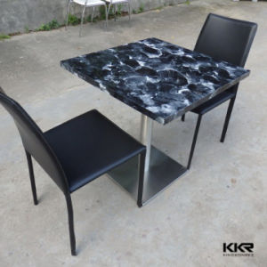China Wholesale Artificial Marble Color Solid Surface Dining Table with 2 Seat pictures & photos