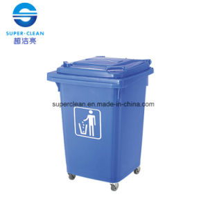 60L Four-Wheel Movable Plastic Garbage Bin (B-001) pictures & photos