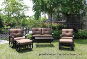 Patio Rockport Garden 6PC Coffee Table Swivel Glider Sofa Outdoor Couches with Ottoman Sunbrella Outdoor Cushion Chat Group Furniture Garden Seating pictures & photos