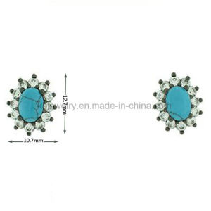 Cheap Brass Accessories Turqoise Beads Stud Earrings for Women (KE3149) pictures & photos