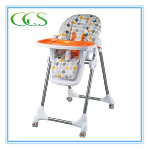 Baby 6 Height Adjustment Folding High Chair with 4 Casters