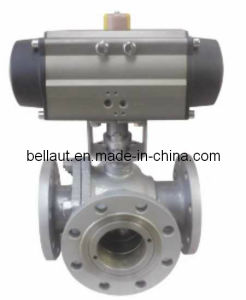 Air Actuated Stainless Steel 3-Way Ball Valve