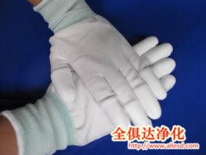 Cleanroom Working PU Coated Nylon Glove pictures & photos