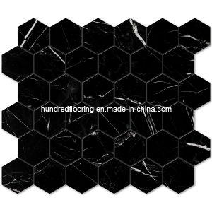 Black Hexagon Marble Stone Mosaic Tile (HSM115) pictures & photos