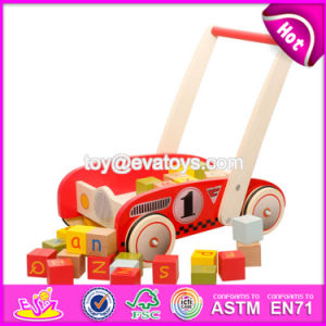 New Design Storage Cart Wooden Push Along Toys with Blocks W16e067 pictures & photos