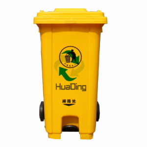 240L Plastic Outdoor Bin Rubber Wheel Trash Can for Outdoor pictures & photos