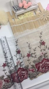Bi-Color 19.5cm Width Embroidery Trimming Mesh Lace for Garments & Home Textiles & Curtains pictures & photos