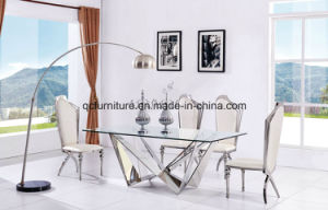 China Mirror Glass Design Stainless Steel Base Wedding Table
