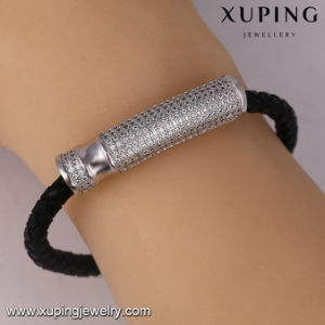 Bangle-81jewelry Fashion Rhodium Plated Zircon Black Leather Bracelet pictures & photos
