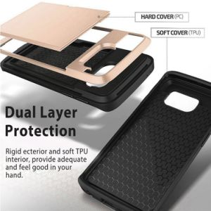 Wallet Case Card Slot Hard Shell Shock Armor Scratch-Proof Case for Galaxy S8 Plus pictures & photos