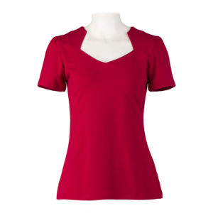 Women Blank Tee Shirt in Stock V Neck Sexy Shirt pictures & photos