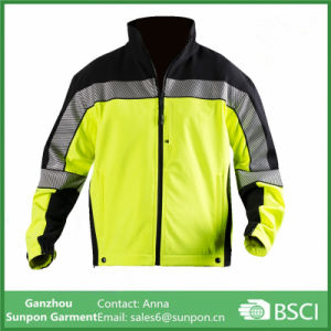 Softshell Fleece Jacket High Vis Yellow with Black pictures & photos