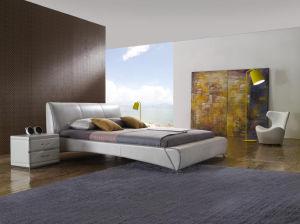 Elegant Beige Leather Bed Set for Home or Hotel (LB-033)