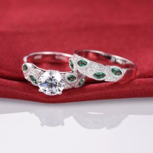 Green Leaf Design Bridal Ring Set - 17 pictures & photos