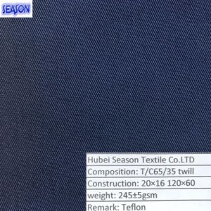 T/C65/35 20*16 120*60 245GSM Teflon Dyed Twill Woven Polyester Fabric for Workwear Clothes pictures & photos