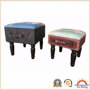 Accent Nesting Tufted Wooden Suitcase Storage Stool pictures & photos