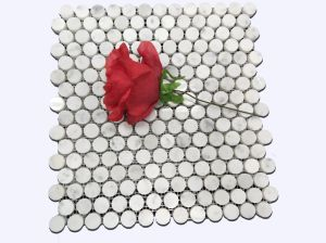 Low Price Selling Carrara White Round Mosaic Marble Tile pictures & photos