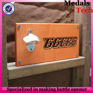 Density Board Wooden Wall Mount Beer Bottle Opener with Iron Cap Holder pictures & photos