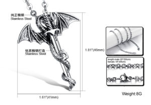 Fashion Titanium Stainless Steel Dragon Cross Pendant Necklace Jewelry pictures & photos