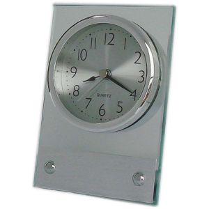Hotel Glass Table Clock with Silver Chrome Base pictures & photos