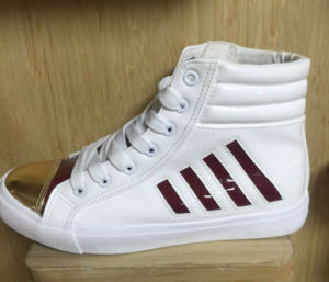 Vulcanized Rubber Outsole Lace up Canvas Fashion Shoes pictures & photos